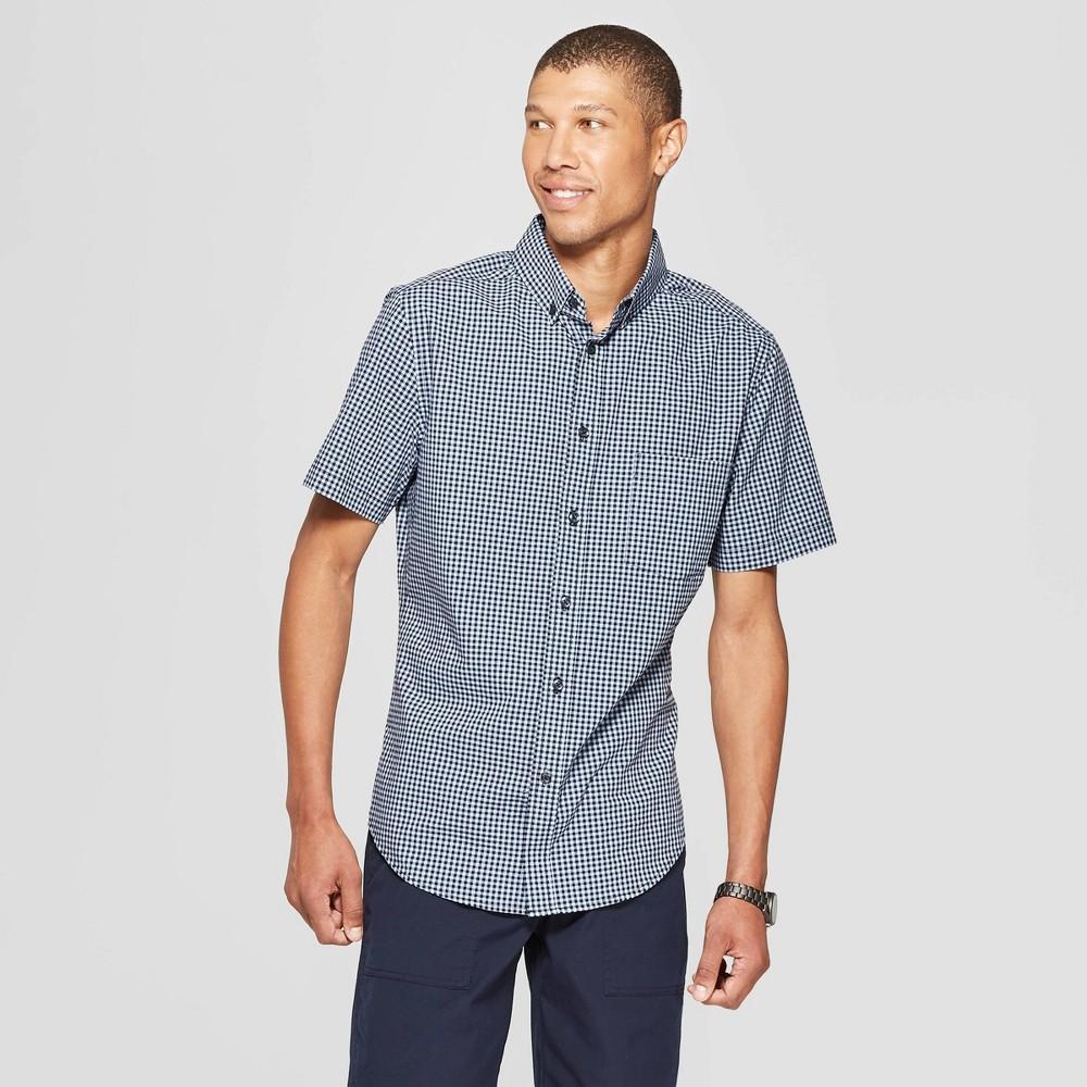 Men's Checkered Slim Fit Short Sleeve Poplin Button-Down Shirt - Goodfellow & Co Breaktime Blue 2XL