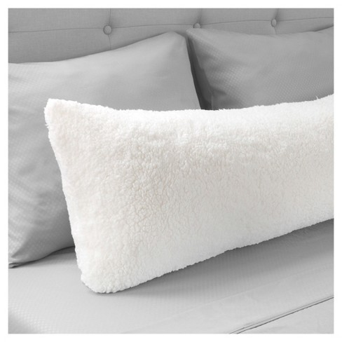 Body Pillow Covers.Soft Sherpa Body Pillow Cover 52 X18 White Yorkshire Home