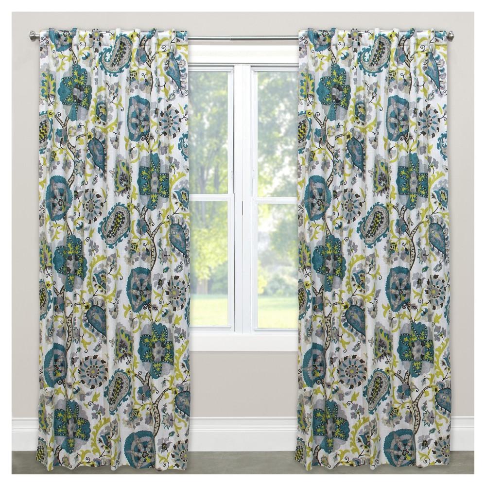 Window Curtain Panels Floral Blue (50