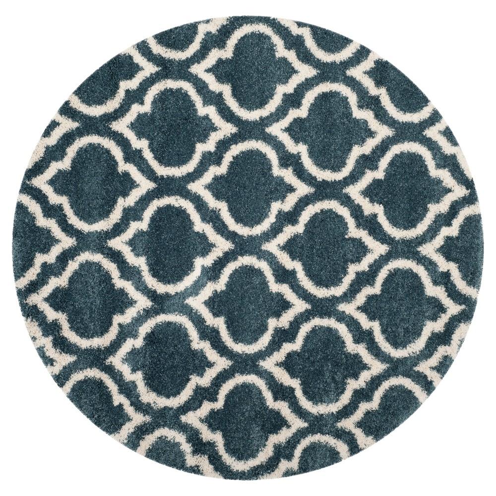 Slate Blue/Ivory Geometric Shag and Flokati Loomed Round Area Rug 7' - Safavieh