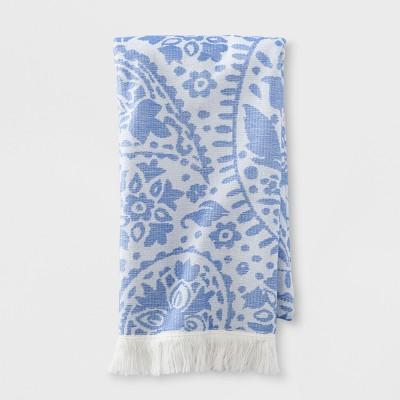 Paisley Flat Weave Bath Towel Capri Blue - Opalhouse™