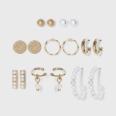 Pearl Hoop, Stud, Ear Cuffs Earring Set 8pc - A New Day™