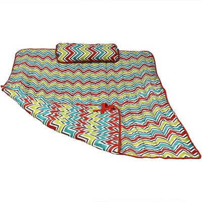 Polyester Quilted Hammock Pad and Pillow - Red/Green/Blue Chevron Stripe - Sunnydaze Decor