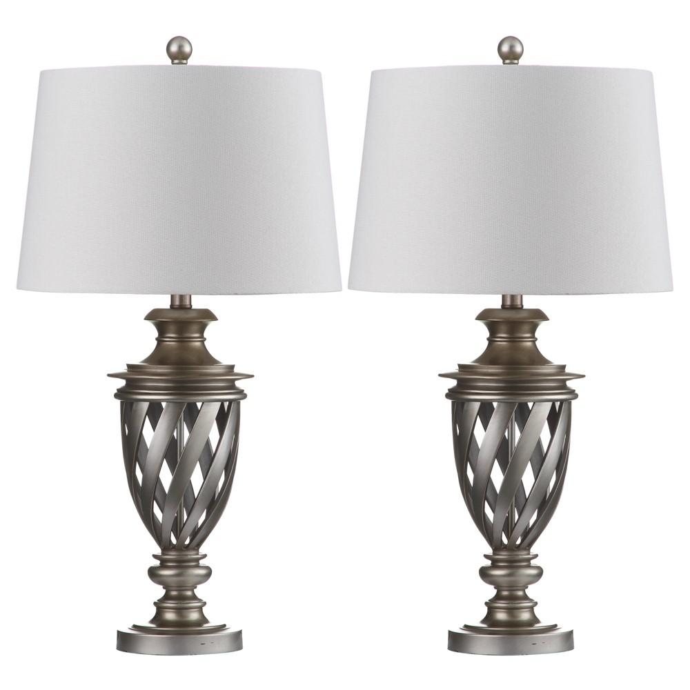 Byron Urn Table Lamp (Set of 2) - Safavieh, Silver/White