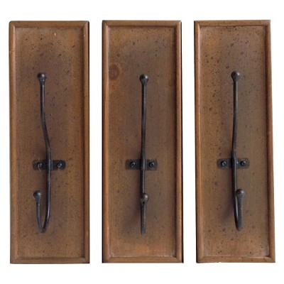 Wood with Metal Hooks Wall Décor