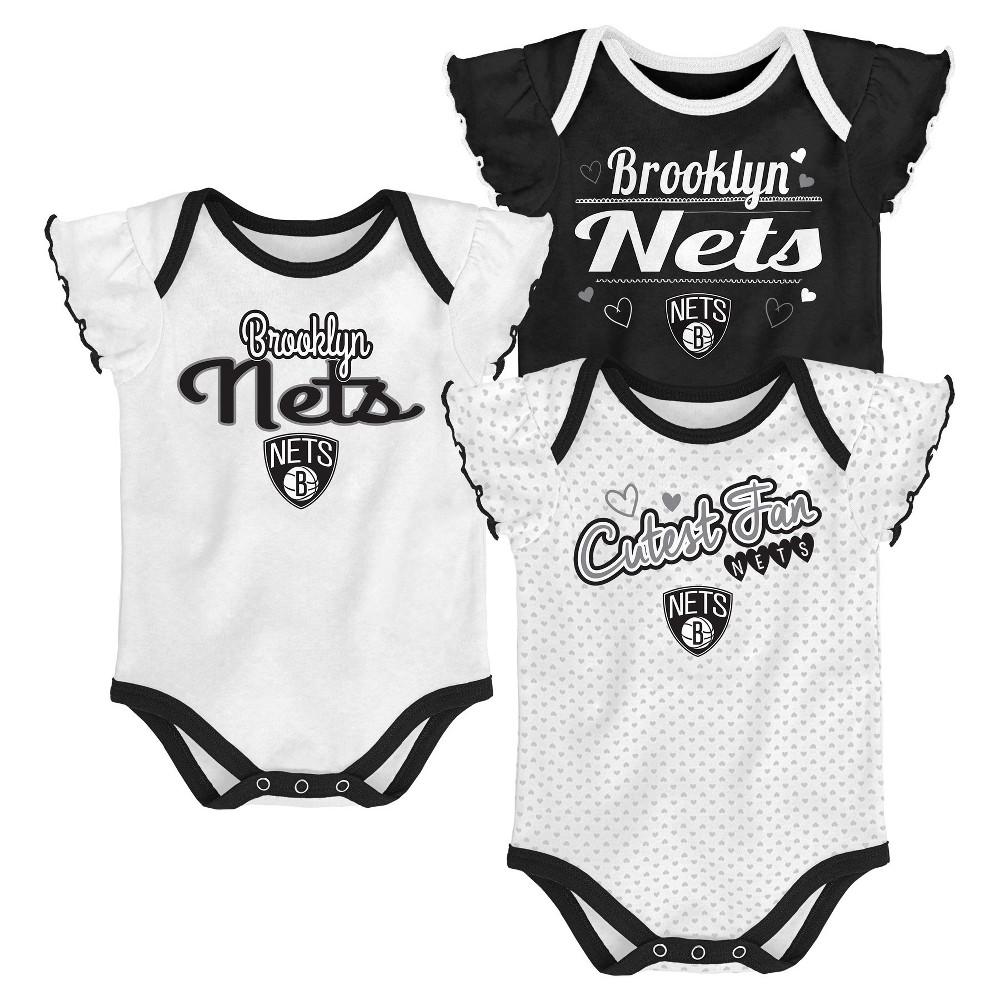 Brooklyn Nets Girls' Draft Pick 3pk Body Suit Set 0-3M, Multicolored