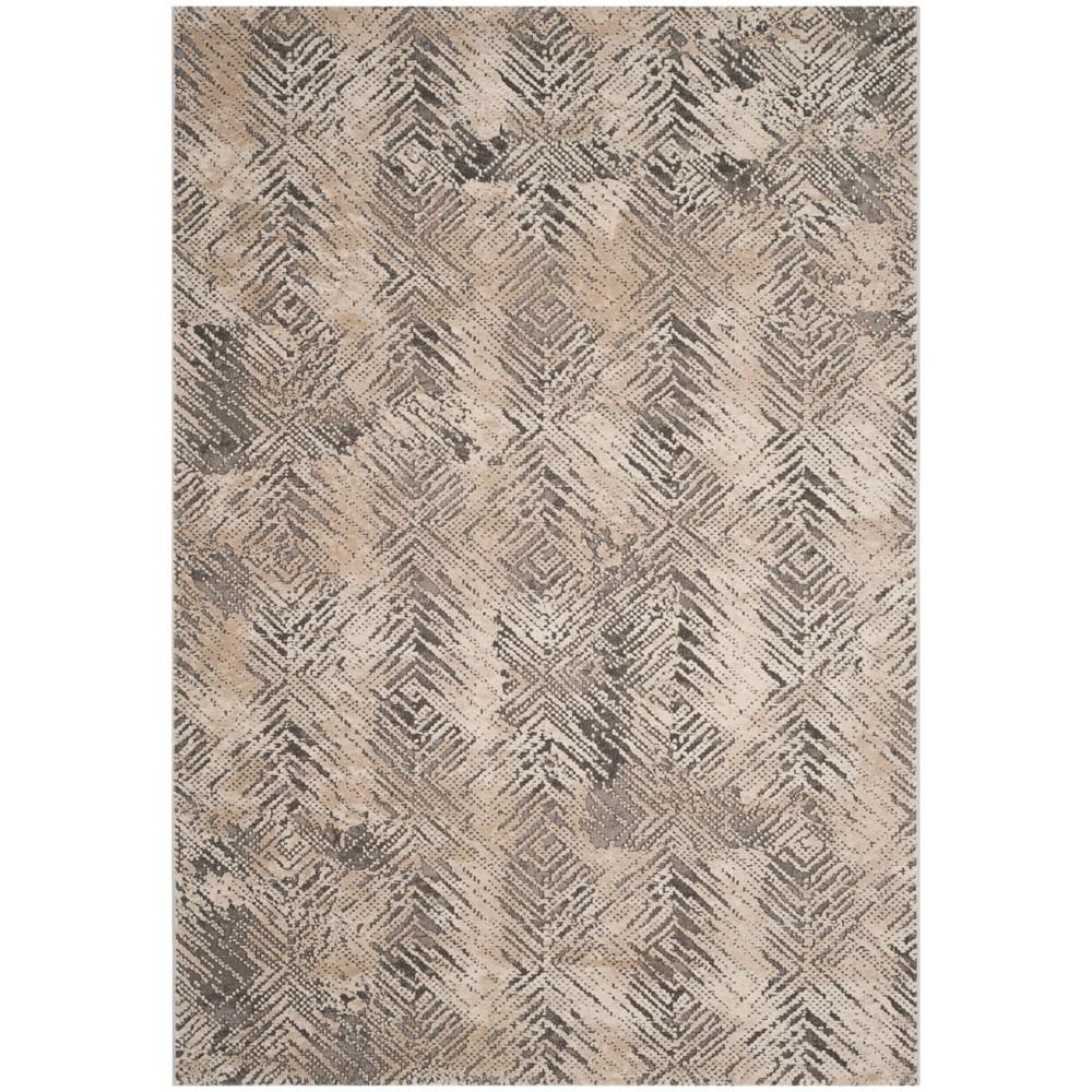 6'7X9' Loomed Geometric Area Rug Ivory - Safavieh, White