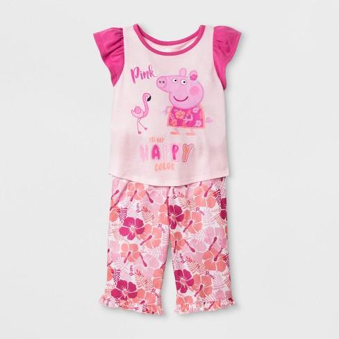 c3736c66e8c4 Toddler Girls  Peppa Pig 2pc Short Sleeve Cotton Pajama Set - Pink ...