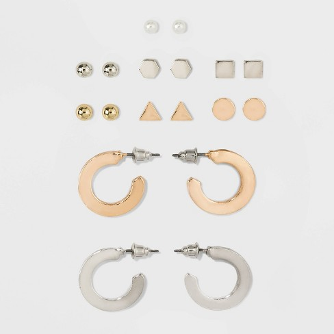 Triangle and Open Hoop Multi Earring Set 9ct - Wild Fable™ - image 1 of 2