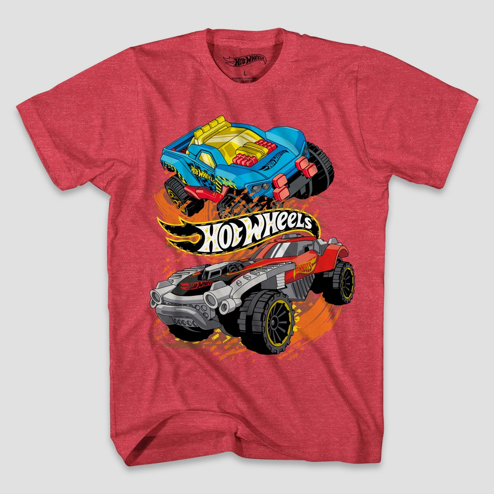 Boys' Hot Wheels Short Sleeve T-Shirt - Red Heather M