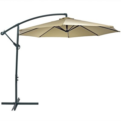 Sunnydaze Outdoor Steel Offset Cantilever Pool Patio Umbrella with Crank and Cross Base - 10' - Beige