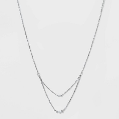 Silver Plated Cubic Zirconia Triple Bezel Faux Layered Chain Necklace - A New Day™ Silver