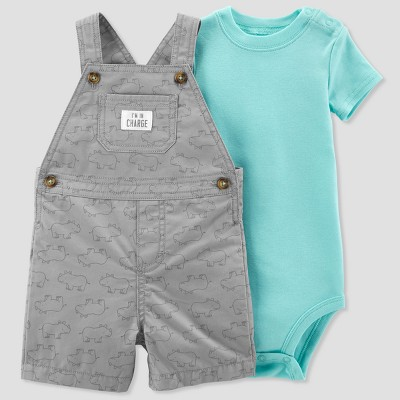Baby Boys' 2pc Rhino Shortall Set - Just One You® made by carter's Gray 3M