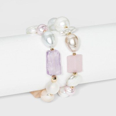 Irregular Pearl and Bead Stretch Bracelet 2pc - A New Day™