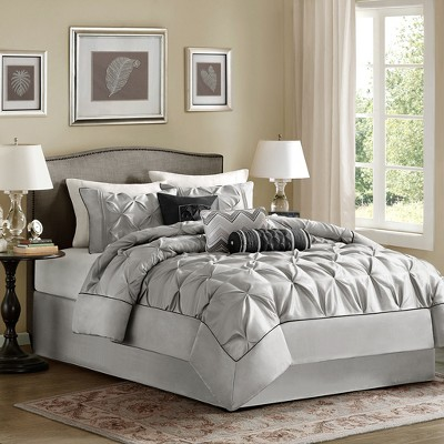 Gray Piedmont Pieced Comforter Set with Pleats (King)7pc