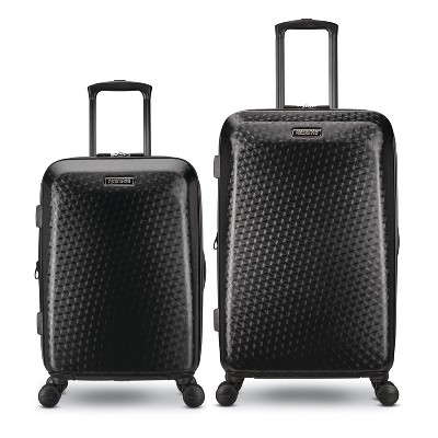 American Tourister Moonlight Plus 2 Piece 20 Inch Carry On and 24 Inch Hardside Expandable Travel Luggage Set with Spinner Wheels, Textured Black