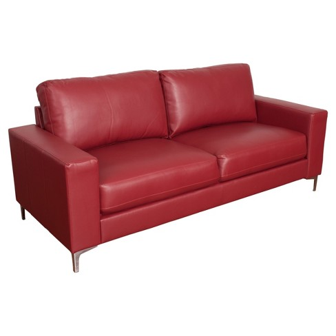 Cory Contemporary Red Bonded Leather Sofa - Corliving : Target