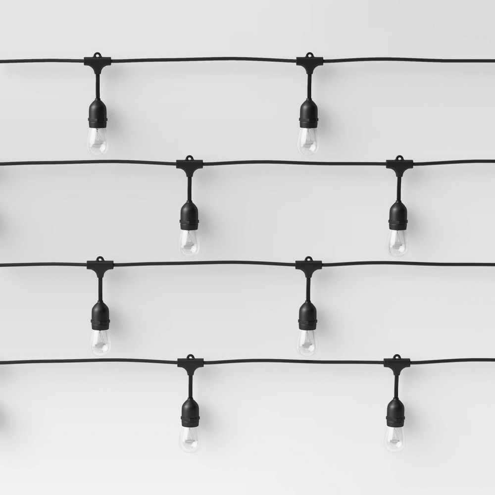 Image of 10ct Incandescent Heavy Duty String Lights Clear with Black Wire - Smith & Hawken