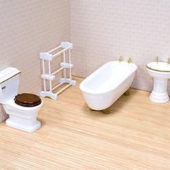 Melissa & Doug Classic Wooden Dollhouse Bathroom Furniture (4pc) - Tub, Sink, Toilet, Towel Rack