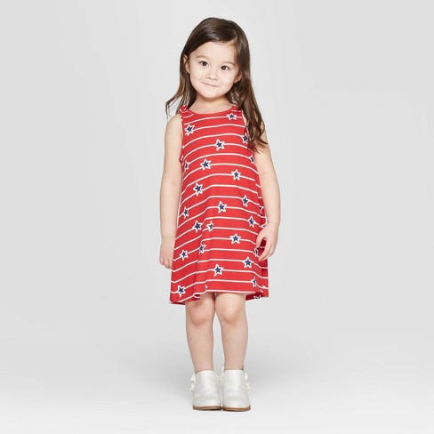 Toddler Girls' 4th of July A Line Dress - Cat & Jack™ Red - image 1 of 3
