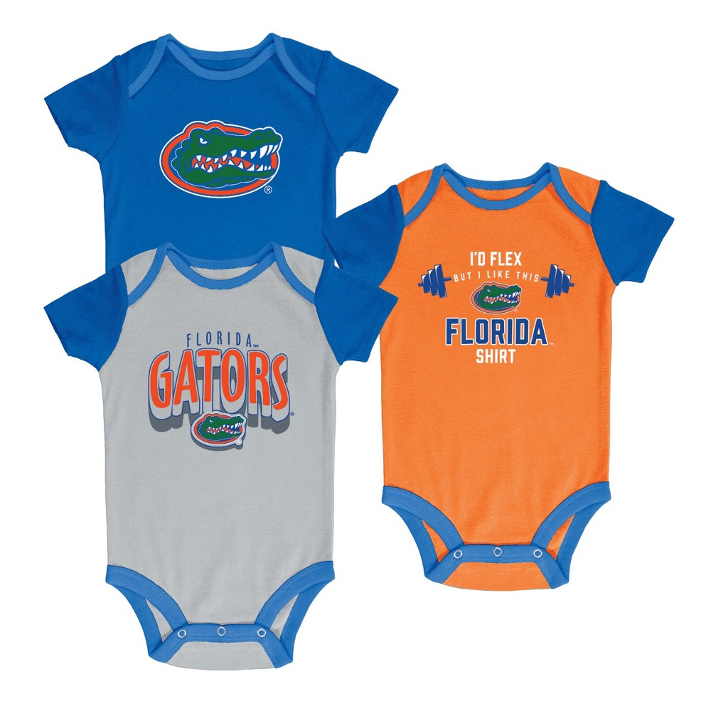 NCAA Baby Boys' 3pk Bodysuit Florida Gators - 0-3M, Multicolored