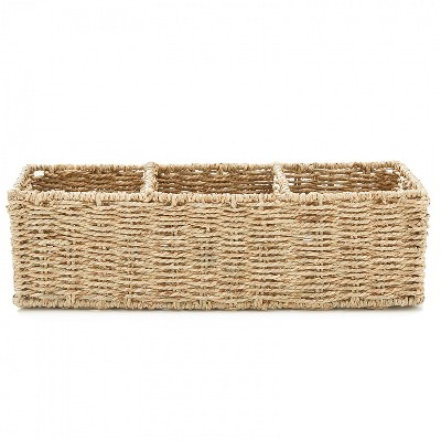 "Americanflat Rectangular Hand Woven Basket with Durable Metal Frame - 16.5"" x 6"" x 5"""