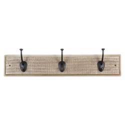 Sumner Street Home Hardware 3-Hook Rustic Wall Coat Rack - White/Brass