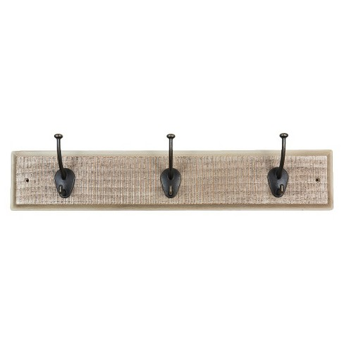 Sumner Street Home Hardware 3-Hook Rustic Wall Coat Rack - White/Brass - image 1 of 2