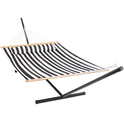 Quilted Double Fabric Hammock with 12' Stand - Black/White Stripe - Sunnydaze Decor