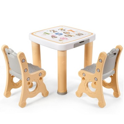 Costway Multifunctional Kids Desk & 2 Height-Adjustable Chairs w/ Non-slip Point Pink\ Blue\ Natural