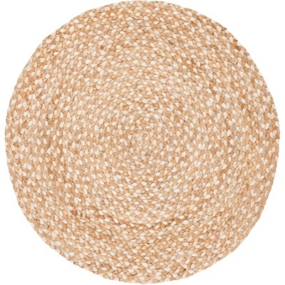 4' Solid Woven Round Area Rug Natural/Ivory - Safavieh