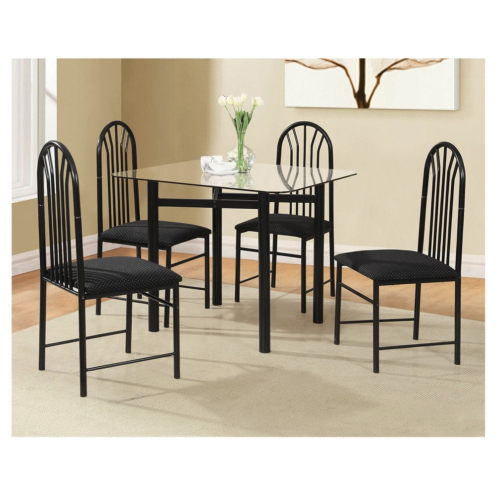 5pc Glass Table & 4 Chairs - Black - Home Source
