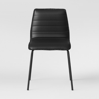 Salk Modern Quilted Dining Chair - Black Faux Leather & Black Base - Project 62™
