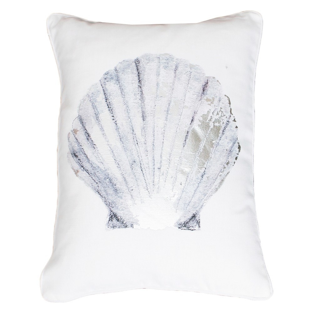 Shell Foil Printed Faux Linen Lumbar Throw Pillow Silver - Decor Therapy