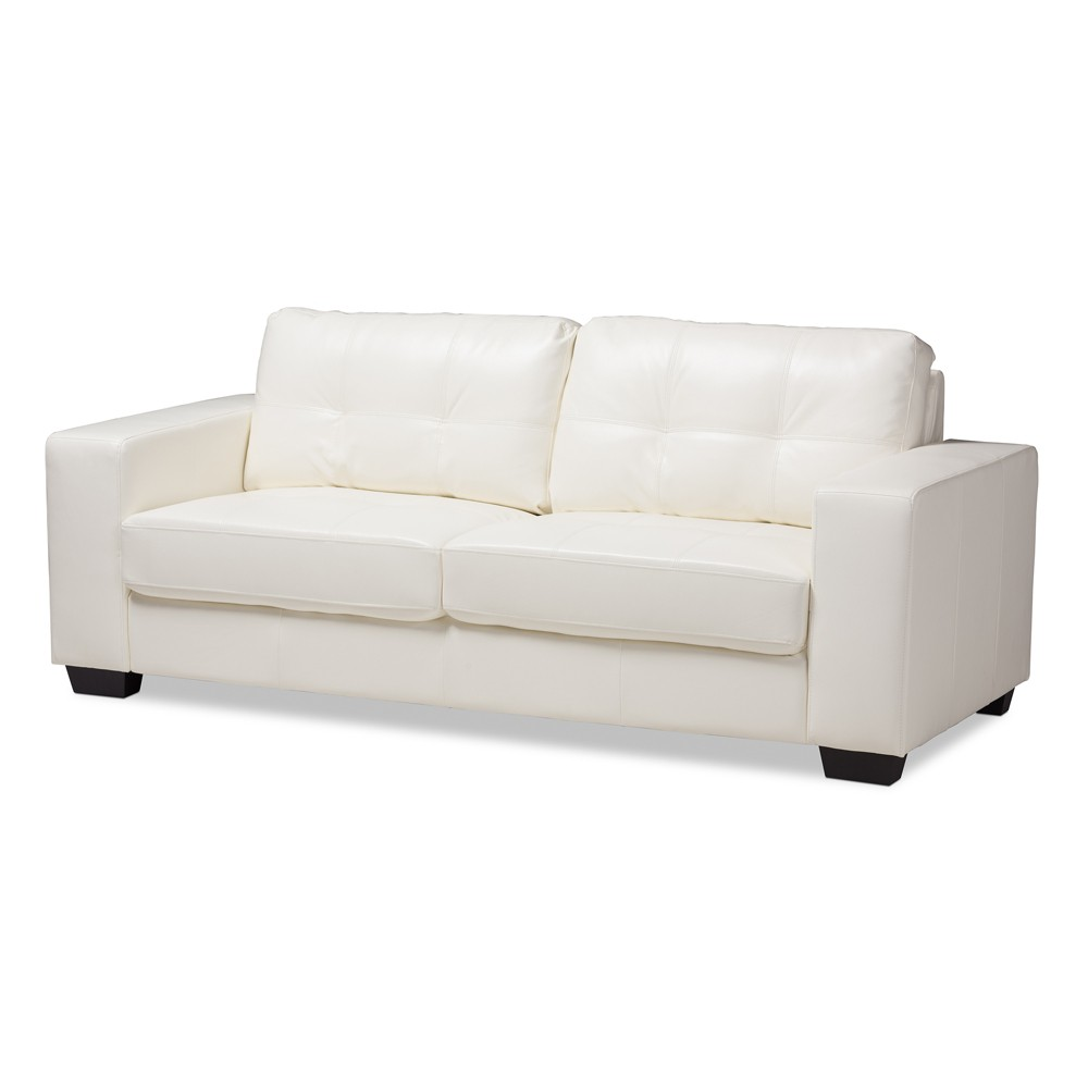 Adalynn Modern And Contemporary Faux Leather Upholstered Sofa White Baxton Studio