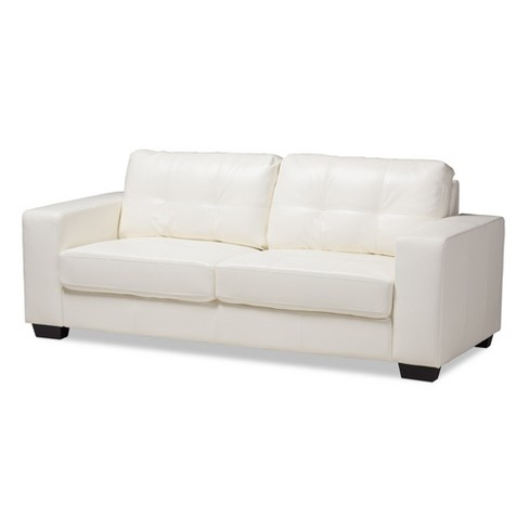 Miraculous Adalynn Modern And Contemporary Faux Leather Upholstered Sofa White Baxton Studio Dailytribune Chair Design For Home Dailytribuneorg