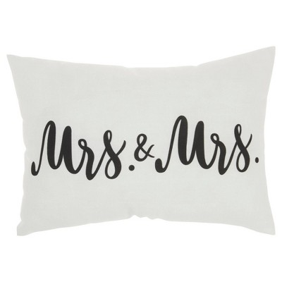 """14""""x20"""" Mrs. & Mrs. Throw Pillow White - Kathy Ireland Home"""