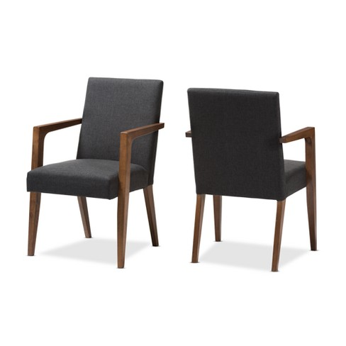 Set Of 2 Andrea Mid Century Modern Upholstered Wooden Armchair