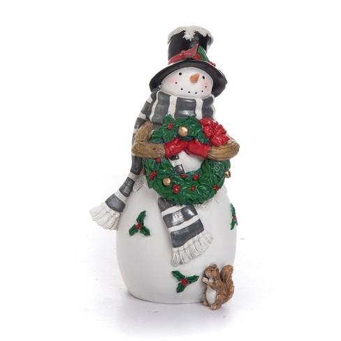 Transpac Resin 9 In White Christmas Snowman Figurine Target