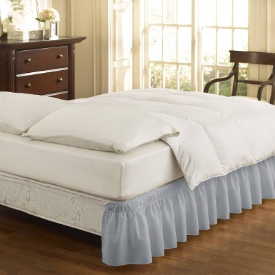 """Gray Wrap Around Solid Ruffled Bed Skirt (Queen/King)(80"""" X 60"""")- EasyFit"""