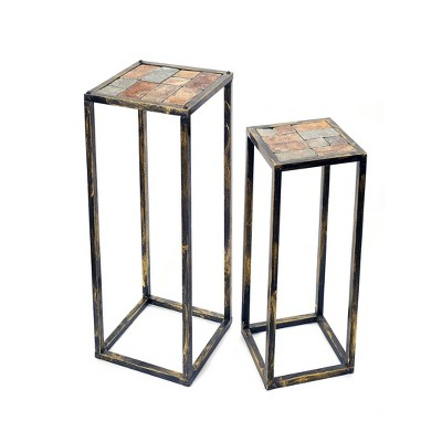 Set of 2 Metal Rectangular Plant Stands with Gray Stone Slab - Black/Gold - Ore International