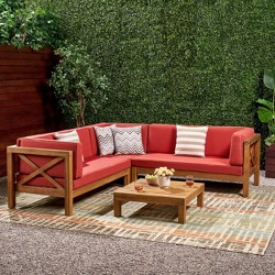 Brava 4pc Wood Patio Chat Set w/ Cushions - Christopher Knight Home