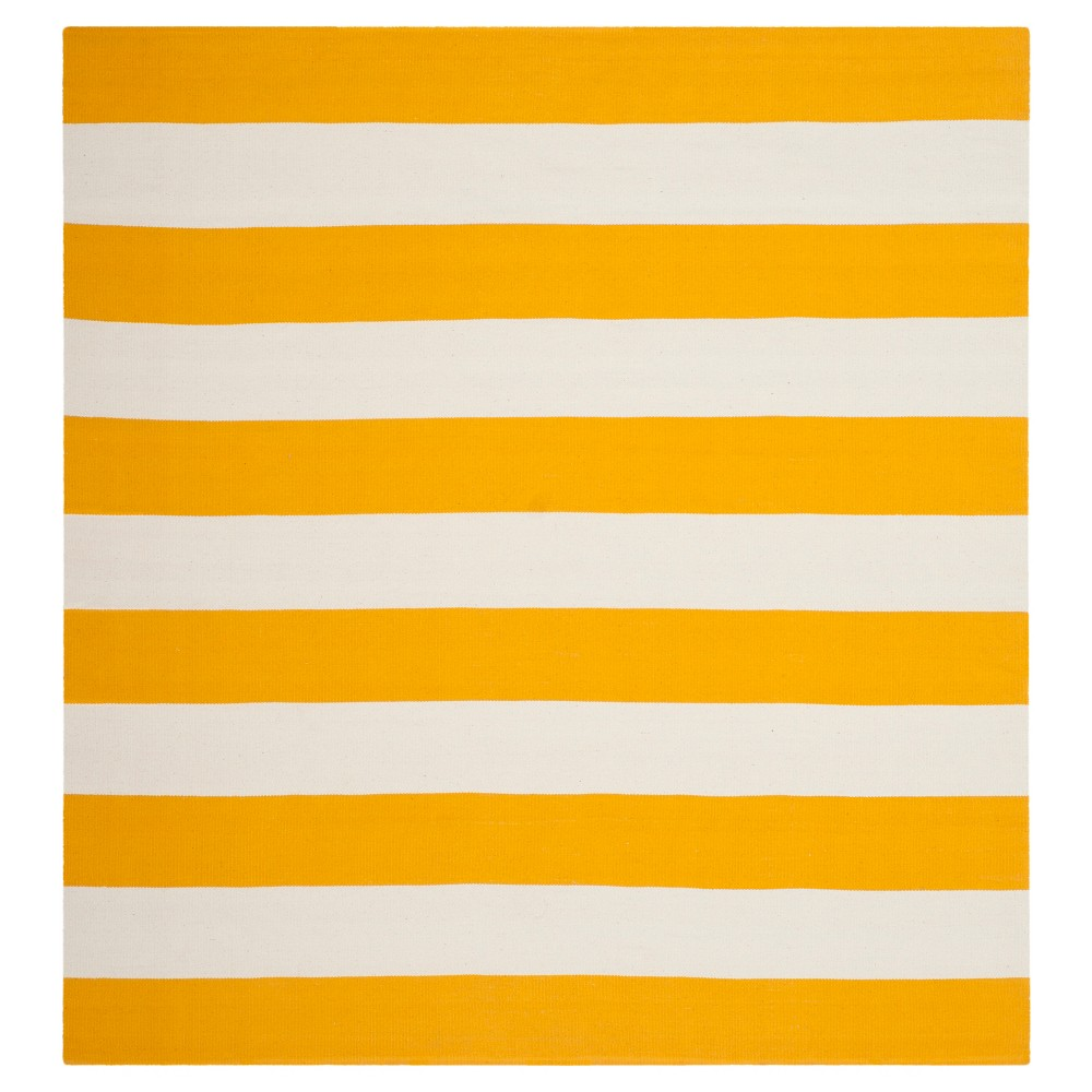 Mati Flatweave Area Rug - Yellow / Ivory (8' X 8') - Safavieh