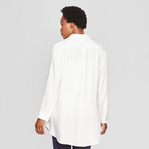 d915eb19f8d14d Women s Plus Size No Gap Button-Down Long Sleeve Tunic - Ava   Viv™ White    Target