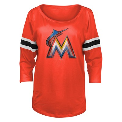 1fe42474166 Los Angeles Dodgers Women s Striped 3 4 Sleeve Distressed Logo Scoop Neck T- Shirt - M   Target