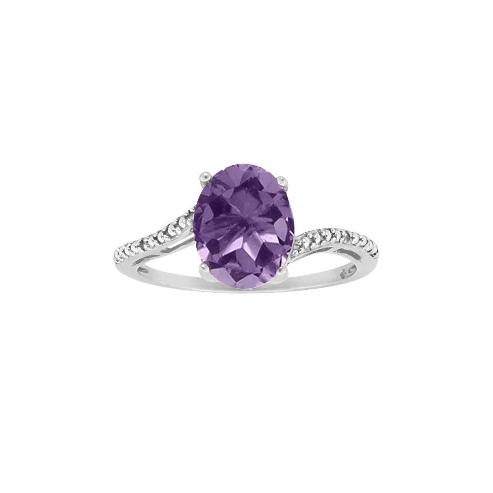Sterling Silver 8X6Mm Oval Amethyst Ring - White (7.5)