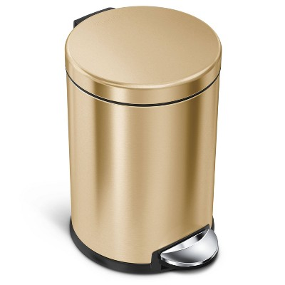 simplehuman 4.5L/1.2gal Stainless Steel Round Trash Can Brass
