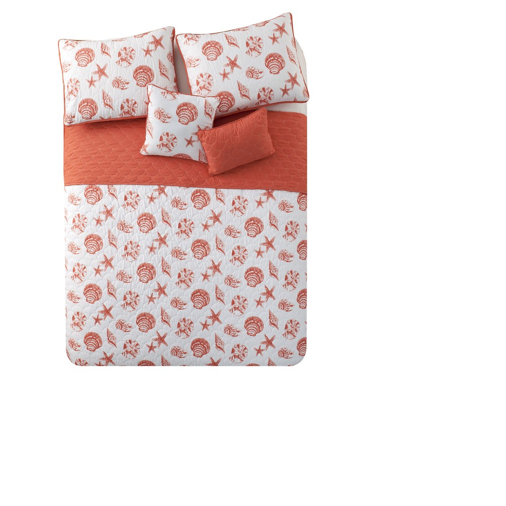 Coral Marco Island Quilt Set (Twin XL) - Vcny, Red