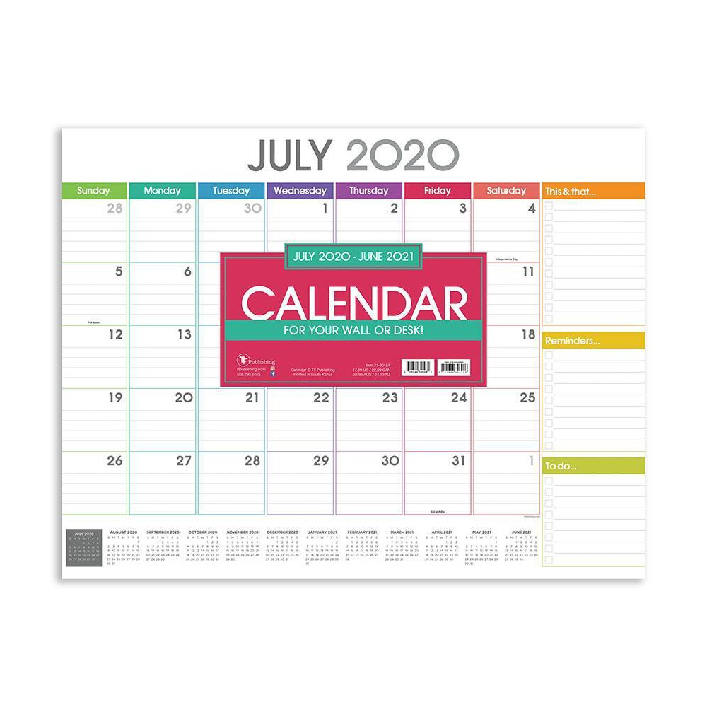 "Image of ""2020-21 Academic Desktop Calendar Rainbow Blocks Large 17"""" x 22"""" - TF Publishing"""