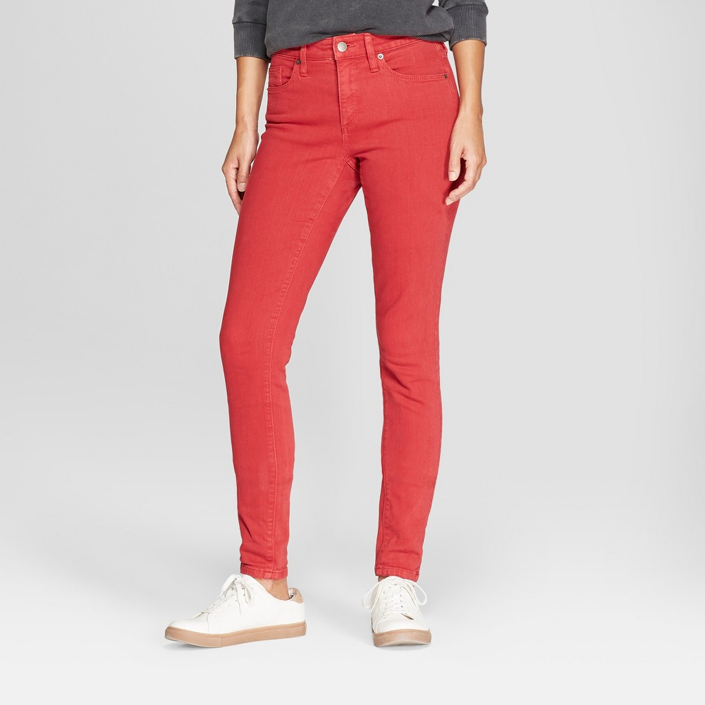 Women's High-Rise Skinny Jeans - Universal Thread Red 0 Long